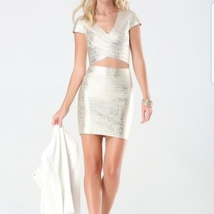 Bebe Metallic Brushed Bandage Foil Skirt/Top